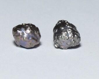 Black Pearl Stud Earrings, Metallic Purple Freshwater Rosebud Baroque Pearl Earrings with Hypoallergenic Surgical Steel Posts, Real Pearls
