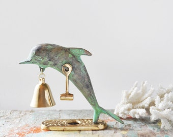 "Vintage Brass Dolphin Bell - 4.75"" porpoise chime with verdigris patina and shiny bell with hammer - beach home decor"