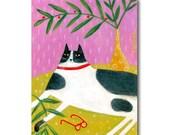 ORIGINAL cat folk art painting FERN CAT tuxedo black and white cat on table by Tascha 8x6