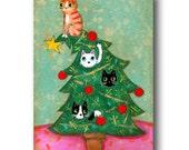 ORIGINAL Christmas CATS on xmas tree acrylic painting cat folk art by TASCHA