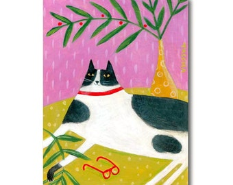 ORIGINAL cat folk art painting FERN CAT tuxedo black and white cat on table by Tascha 8x6