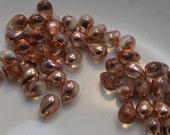 Czech Glass Teardrop Beads 6x4mm Glass Beads (25pk) Apollo Gold si-6x4D-AG