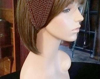 hand knit Bandana dorag kerchief, women accessories, head wrap, head scarf, headband, triangle scarf ~ gypsy spirit knit ~ brown