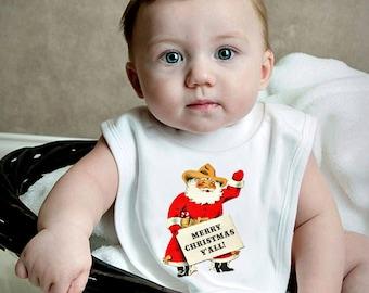"Christmas Baby Bib - ""Merry Christmas Ya'll"" - Texas Santa Cowboy Bib -Knit Bib Infant - Southern Baby Bib - Shower Gift Infant Toddler"
