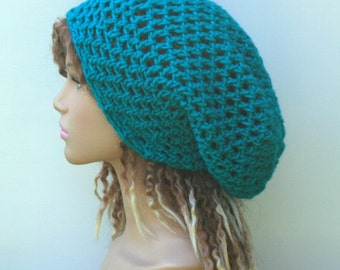 Vibrant teal slouchy hat, sock dread Tam, Slouchy Beanie, Hippie Bohemian hat, snood slouch hat, baggy beanie, woman beanie, man hat, dreads