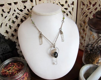 Moss and Ice - Rustic Green Amber and Quartz Point Talisman Necklace