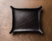Large MONOGRAMMED Leather Catchall - Black / custom catchall, valet tray, gift for him, personalized, valentines, fathers day