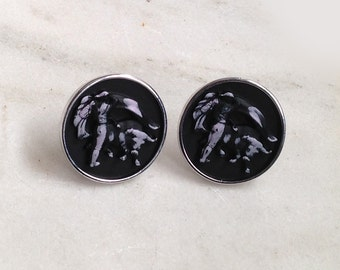 Vintage Cufflinks, Cuff Links, Matador, Bull Fighter, Hickok, Black, Silver Tone Metal, Toggle Closure, 1960's