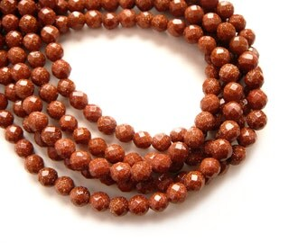 2 Strands Goldstone (Sandstone) 6mm Round Faceted Beads - 2 x 16 inch Full Strands (136 beads)