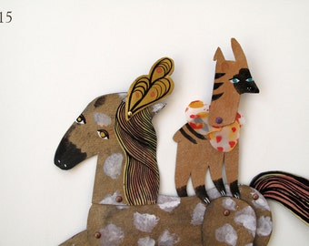 Circus Balance Act Horse and Friend / 2 piece set Plumed Horse Articulated Decoration  / Hinged Beasts Series
