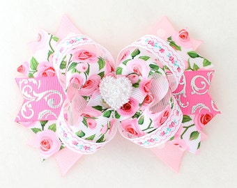 Pretty Pink Rose Hair Bow  with Alligator clip