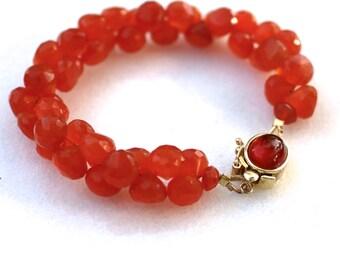 Orangina...Carnelian cluster bracelet with gemstone set box clasp..