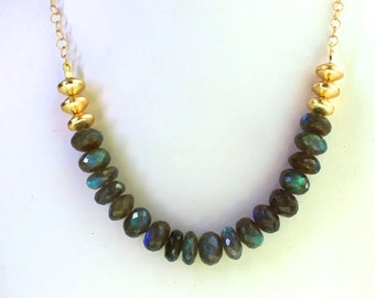 Remarkable Rainbow Labradorite Faceted Focal Necklace in Gold Vermeil...