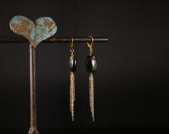 Hawkseye dangle earrings, pillow beads with gold chain