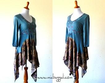 XS-S Blue Cornflower Country Tea Length Stevie Nicks Dress gypsy clothing lagenlook teen dress handmade hippie boho chic wearable art