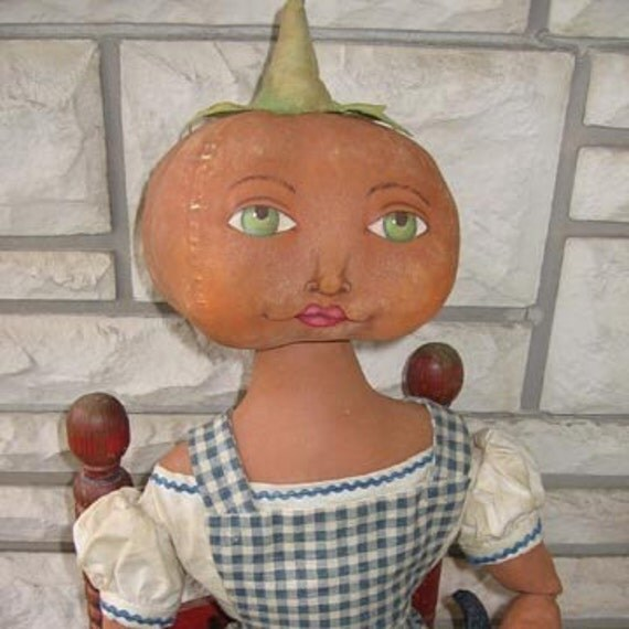 Primitive Pumpkinhead Doll Pattern Dorothy and Toto doll PDF Halloween Wizard of Oz