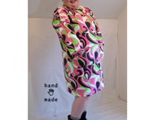 MallRat Dress -- plus size, 3X to 5X, real plus -- pink, neon green swirl print -- retro 90s, wild child -- 58B + stretch