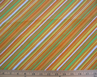 "1970s BRIGHT citrus colors -- diagonal stripe Mod crepe -- orange, yellow, green, white -- synthetic, texture -- 44"" x 3 yards, yardage"