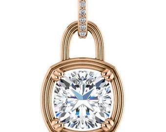 aurora necklace - forever brilliant moissanite pendant, diamonds, 14k rose gold