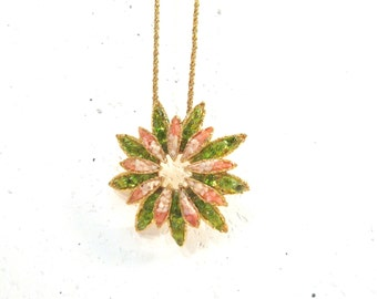 Vintage glass chunk brooch necklace, mid century modern starburst flower, green and coral, convertible brooch to necklace, gold chain
