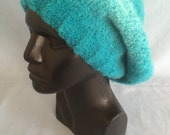 fuzzy teal slouchy knit hat