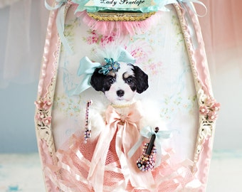 Sweet Lady Penelope Dog Marie Antoinette Inspired Art Collage Pretty Vintage Shabby Sparkle Flowers Romantic Decor OOAK