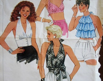 Simplicity 6467 HALTER TOPS Awesome Choices ©1984 Size 8 Bust 31 1/2