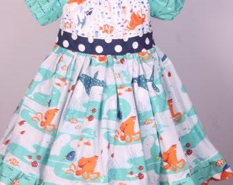 Girls Finding Dory Dress- Girls Finding Nemo Dress -Girls Dory Dress- Girls Nemo Dress- Little Girls Nemo Dress- Nemo Dress- Dory Dress