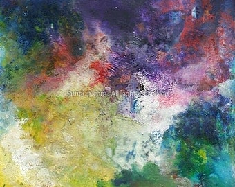 Encaustic Abstract River Valley Mountain of Color on Repurposed Wood Board