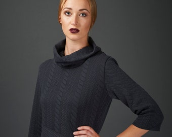 Sofia quilted sweater dress or tunic in charcoal
