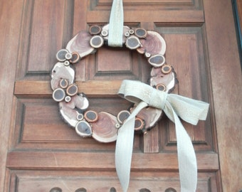 "18"" Wood Slice Wreath ~ Thanksgiving Wreath ~ Fall Wreath ~ Autumn Wreath ~ Autumn Decor ~ Fall Decor ~ Door Wreath (ws6004)"