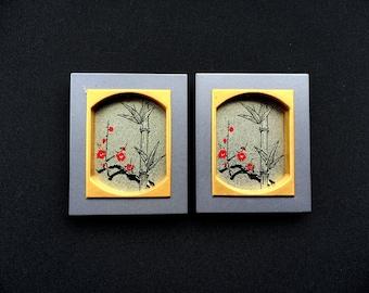 Vintage Japanese Door Pulls - Sliding Door Pulls - Pockey Door Pulls - Vintage Door Pulls - Plum Blossoms Bamboo - Silver Gold Red DP5-10