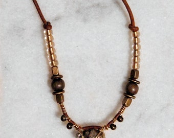 Wire - wrapped Pyrite & Leather necklace - Handmade natural jewelry
