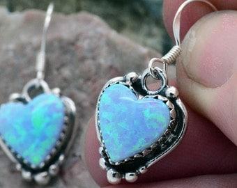 Handmade Blue Fire Opal Heart .925 Sterling silver Earrings ~ Great gift idea for girls on Xmas!