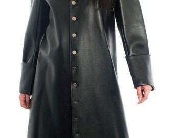 The Preacherman Leatherette Cassock Coat Goth Fetish Gothic Clubwear Steampunk Fantasy costume Cosplay Supernal Clothing Crow