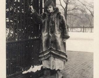 vintage photo 1920 Incredible Fur Coat Lady by the Gate Fashion Vintage Antique Photo