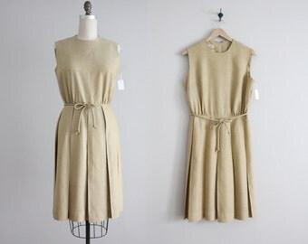 pale gold linen dress / 1960s dress / pleated dress