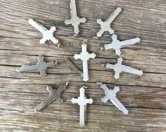 Cross Pocket knife pendant. *BULK OPTIONS*  1970s deadstock NOS silver charm jewelry parts supplies m95