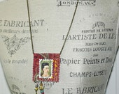 Frida Kahlo Mixed Media Boho Art  Amulet Necklace Postage Stamp Style
