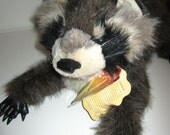 Raccoon Puppet - Plush Hand Puppet by Folkmanis Puppets - New Old Stock with Tags