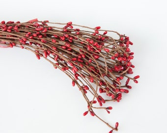 "10 Pip Berry ""Branches"" in Red - Wedding Crowns, Head Wreaths, Flower Crown Supplies ITEM 0121"