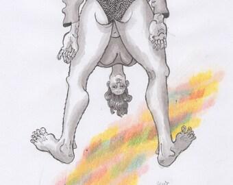 Butt Pose (Original Drawing, 2016)