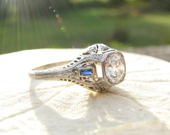 Antique Diamond Engagement Ring, Fine Old European Cut Diamond, Sapphire and Diamond Accents in Fancy Filigree, GIA Appraisal of 4775