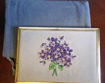 Vintage Hobe Violets Embroidery Cigarette Case from Switzerland