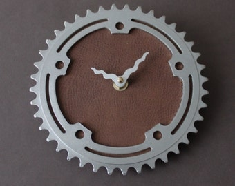 Bicycle Gear Clock - Vintage Brown Leather | Bike Clock | Wall Clock | Recycled Bike Parts Clock