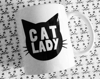 Cat Lady Ceramic Coffee Mug - 11oz - made in the USA - Funny Text Great Gift For Cat Lovers - Gift for Her under 15
