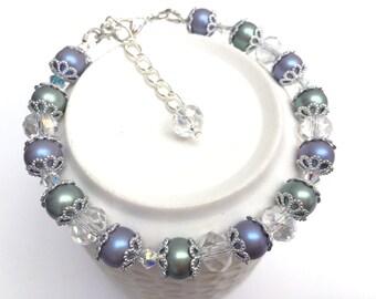 Pearl Bracelet, Swarovski, Pearl and Crystal Jewelry, Single Strand Bracelet, Gift For Her, Purple Bracelet, Gift For Bridesmaids, Seafoam