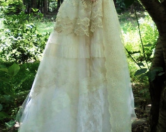 Ivory lace dress wedding cream tulle  vintage  bride outdoor  romantic small by vintage opulence on Etsy
