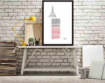 Eiffel Tower Wiki Fact Print Typography Print Paris Architectural Wall Art City Customize Black and White