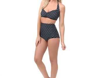 Red Dolly Black & White polka dot Retro Pin up High waist bikini Two piece swimsuit size S-XL